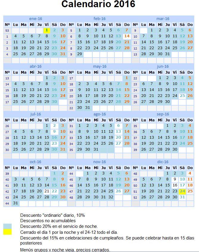 Calendario asitencia